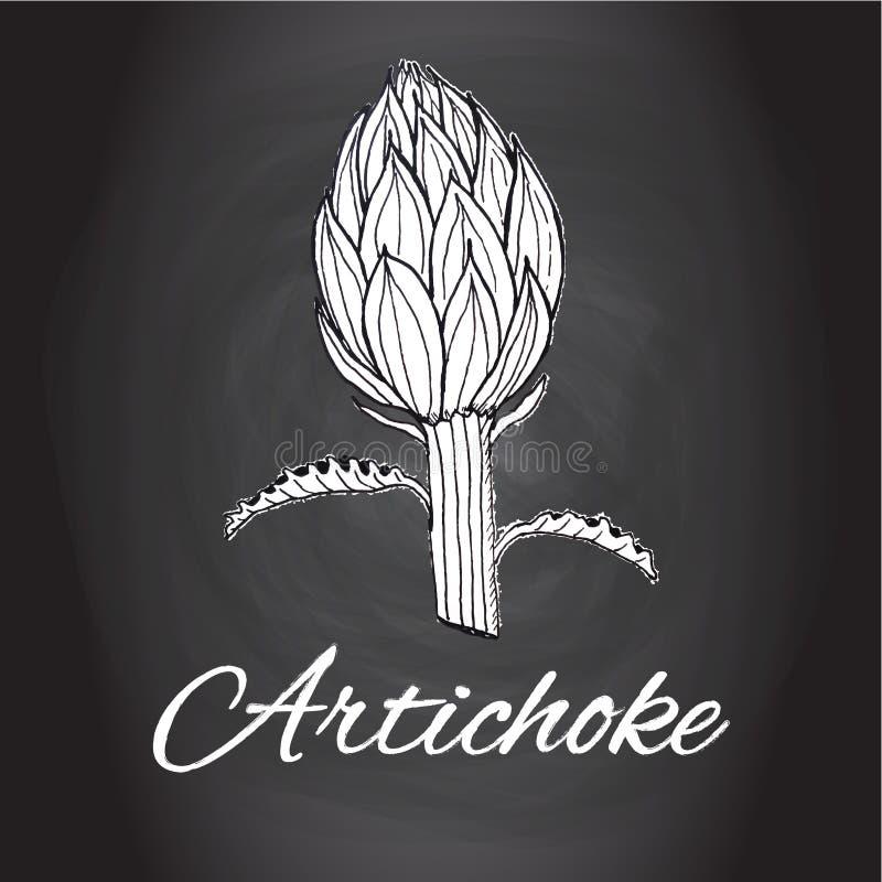 Marque el arte blanco y negro de la cocina con tiza del bosquejo de la alcachofa del vector exhausto de la flor, decoración de la stock de ilustración