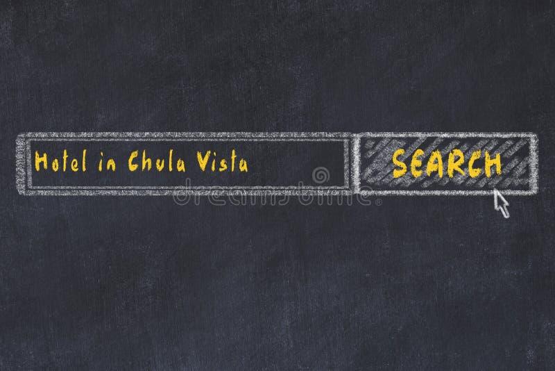 Marque el bosquejo con tiza del Search Engine Concepto de buscar y de reservar un hotel en Chula Vista ilustración del vector