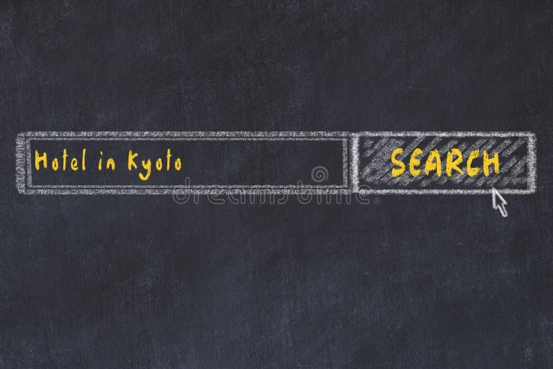Marque el bosquejo con tiza del Search Engine Concepto de buscar y de reservar un hotel en Kyoto ilustración del vector