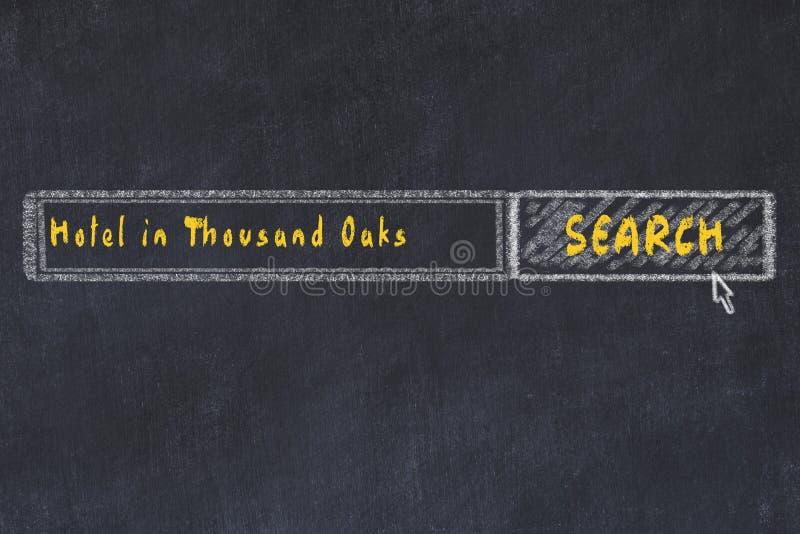 Marque el bosquejo con tiza del Search Engine Concepto de buscar y de reservar un hotel en Thousand Oaks libre illustration