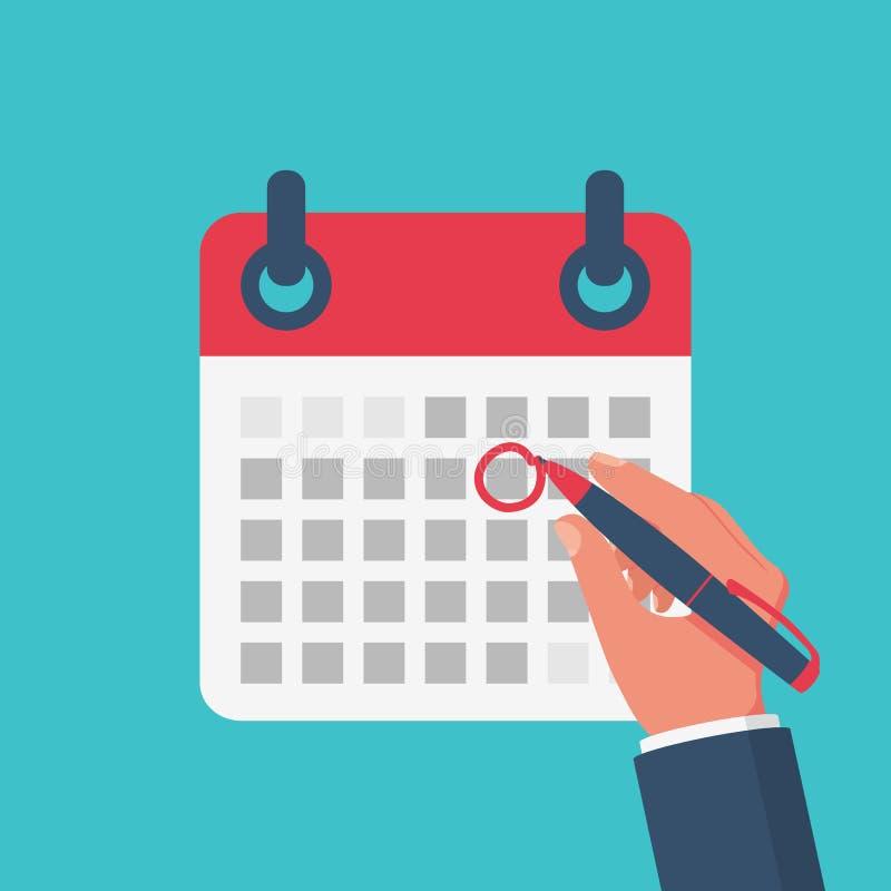 Marque el calendario Estilo plano del ejemplo del vector libre illustration