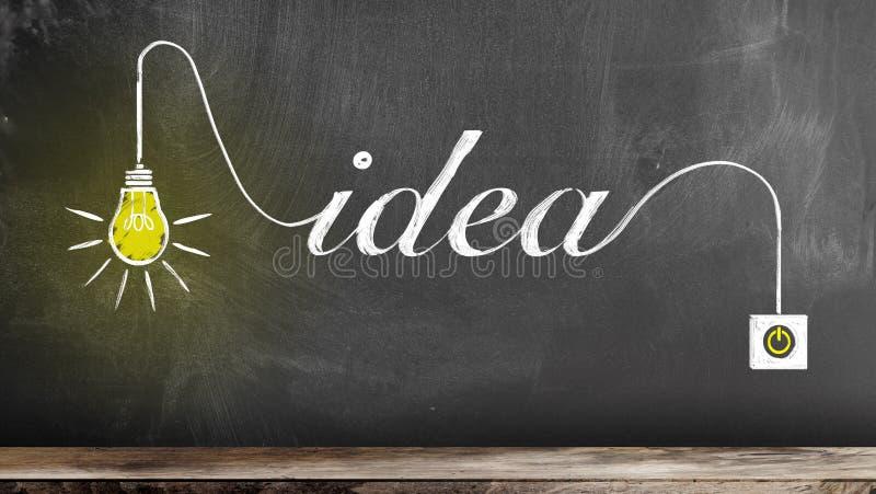 Marque el dibujo con tiza de la bombilla que brilla intensamente y de la palabra IDEA en la pizarra fotos de archivo libres de regalías