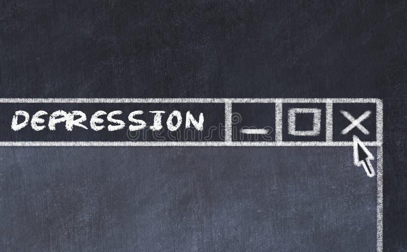 Marque el dibujo con tiza de la ventana en la pantalla de ordenador Concepto de parar la depresión stock de ilustración
