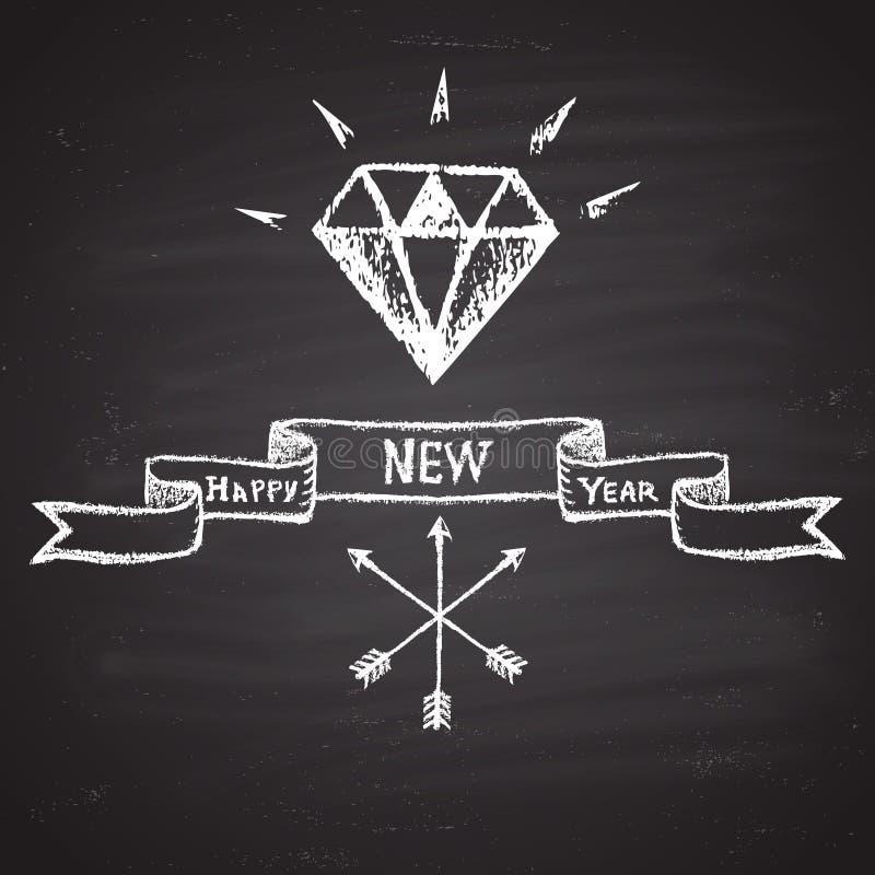 """Marque el ejemplo con tiza pintado con el diamante brillante, las flechas cruzadas, el texto y la cinta """"de la Feliz Año Nuevo"""" T libre illustration"""