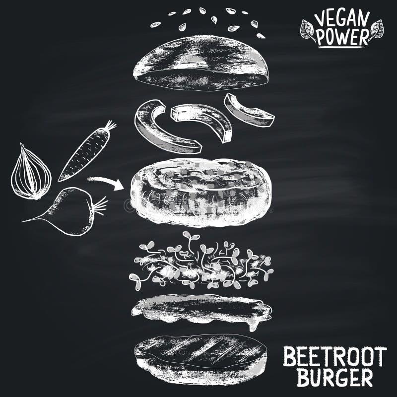 Marque el ejemplo con tiza pintado de los ingredientes de la hamburguesa de las remolachas del vegano Tema del menú de la hamburg libre illustration