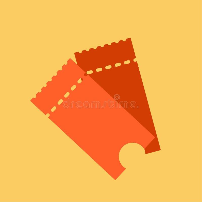 Marque el ejemplo del vector del icono en el estilo plano Trozo de boleto aislado en un fondo Boletos retros del cine o de la pel stock de ilustración