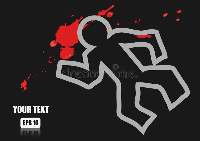 Marque el esquema con tiza del cadáver y de la sangre en un camino stock de ilustración