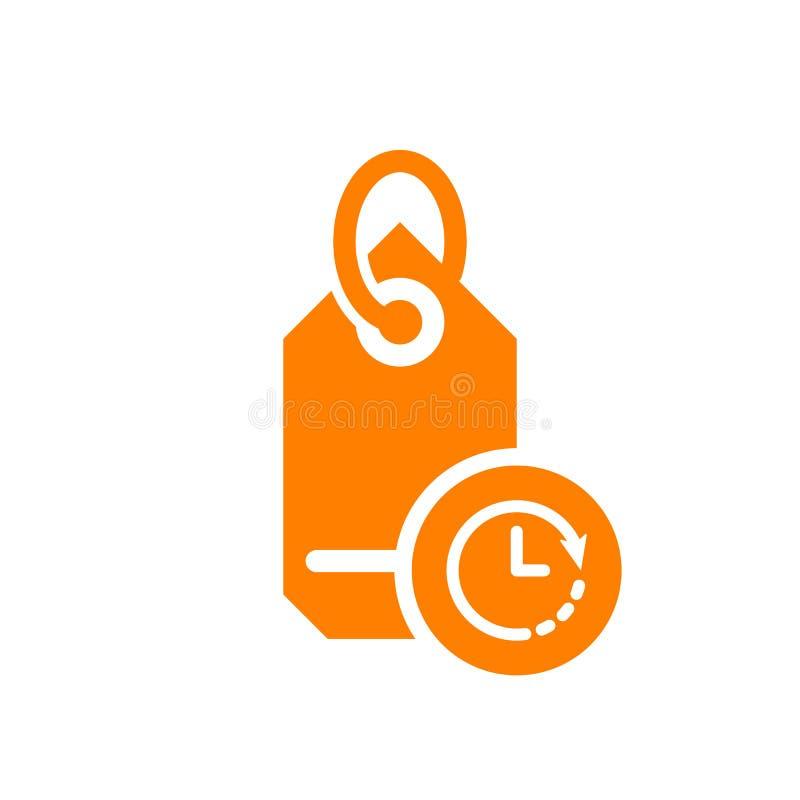 Marque el icono con etiqueta, icono del negocio con la muestra del reloj Marque el icono y la cuenta descendiente con etiqueta, p stock de ilustración