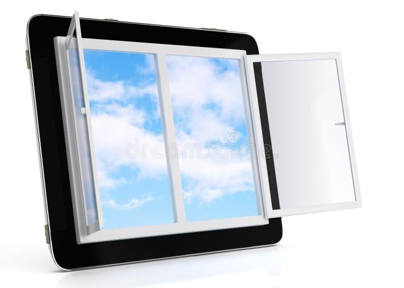 Marque en la tableta el ordenador con la ventana abierta y el cielo en la pantalla ilustración del vector