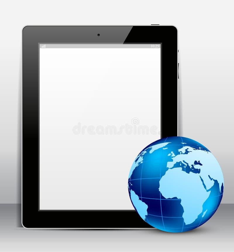 Marque en la tableta la PC con el globo ilustración del vector