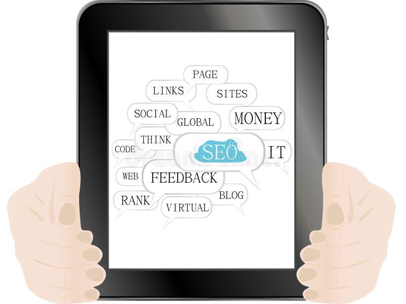 Marque en la tableta la PC con la muestra de SEO y las etiquetas en la optimización libre illustration