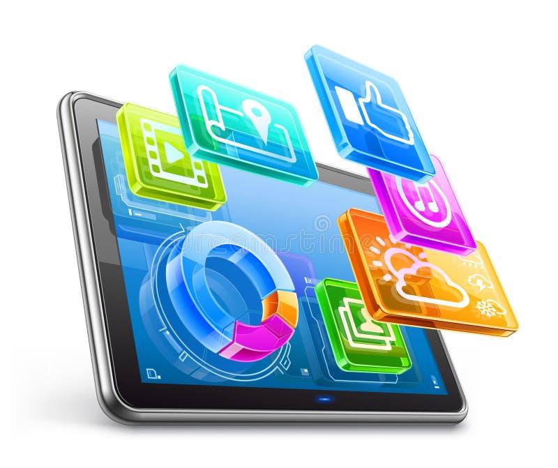 Marque en la tableta la PC con los iconos de la aplicación y el gráfico de sectores ilustración del vector