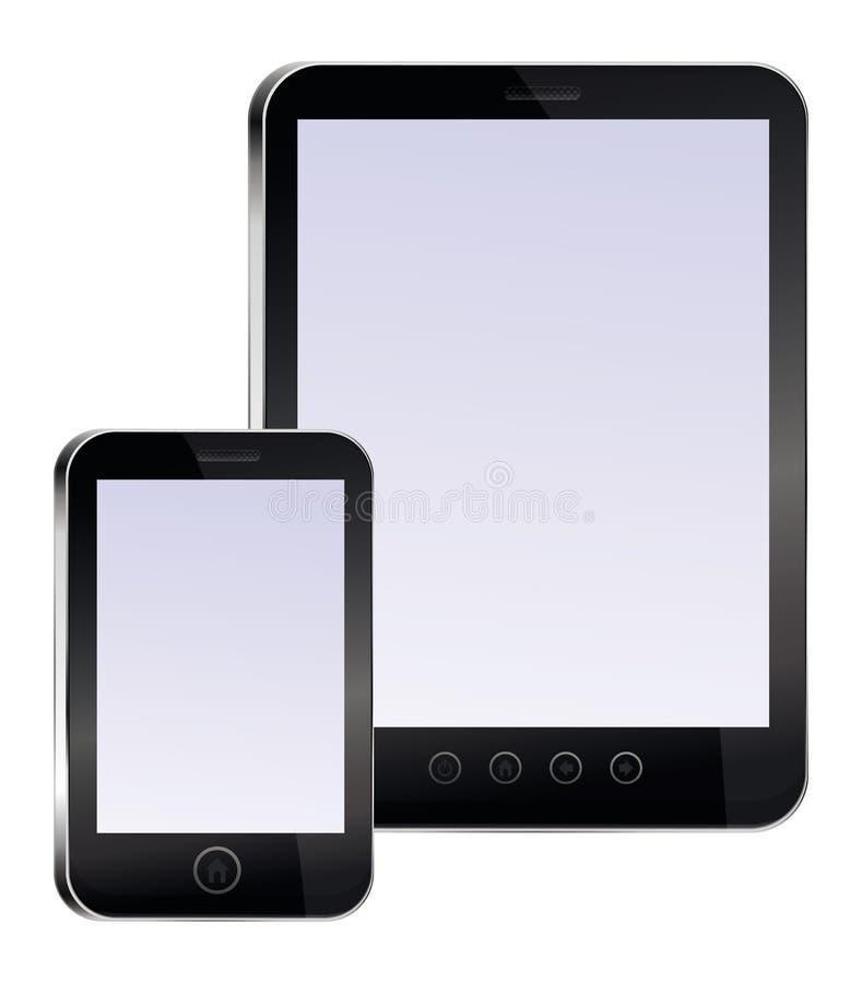 Marque en la tableta la PC y el teléfono móvil con las pantallas vacías stock de ilustración