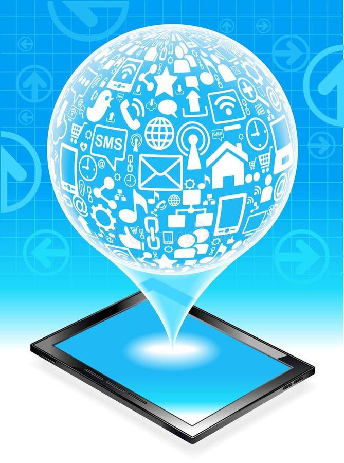 Marque en la tableta la red social stock de ilustración
