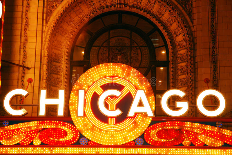 Marque of the Famous Chicago Theater. The historic Chicacgo Theater has become an icon in the city royalty free stock images