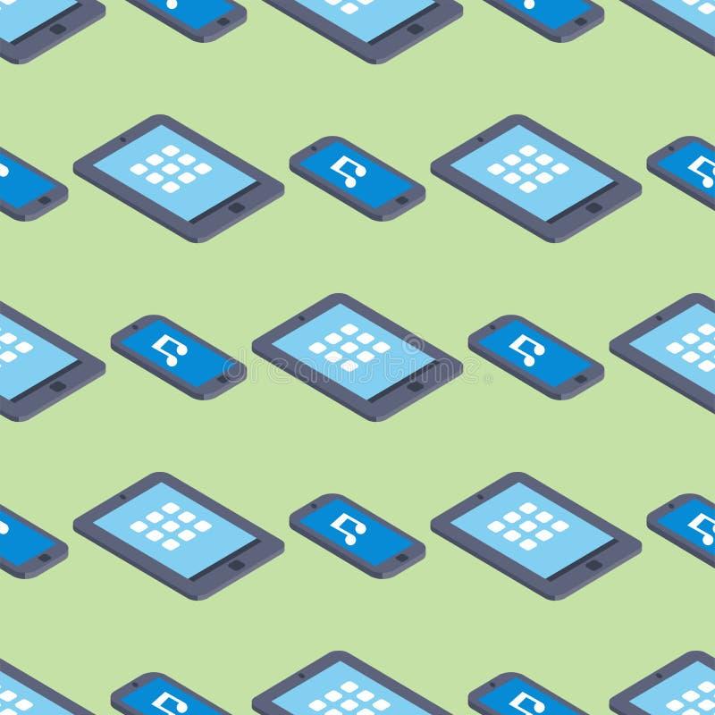 Marque a ilustração sem emenda isométrica eletrônica do vetor do equipamento do teste padrão de uma comunicação do fundo de tela  ilustração stock