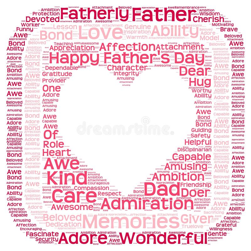 Marque la nube con etiqueta del día de padre en forma del corazón en una caja imagen de archivo libre de regalías