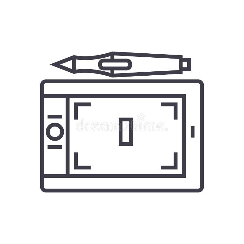 Marque a linha ícone do vetor dos gráficos, sinal, ilustração no fundo, cursos editáveis ilustração stock