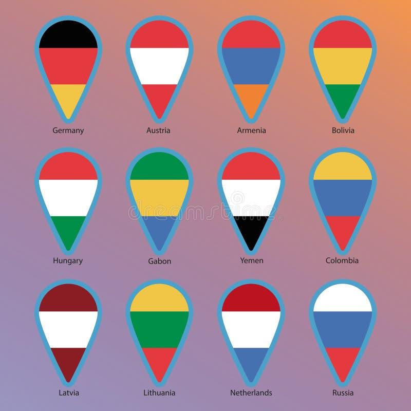 Marque o ícone com bandeiras, ponteiros ilustração do vetor