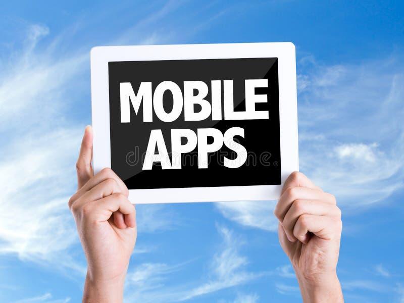 Marque o PC com texto Apps móvel com fundo do céu foto de stock