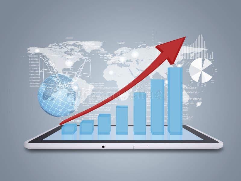 Marque o PC e a carta de crescimento na tabuleta da tela ilustração stock