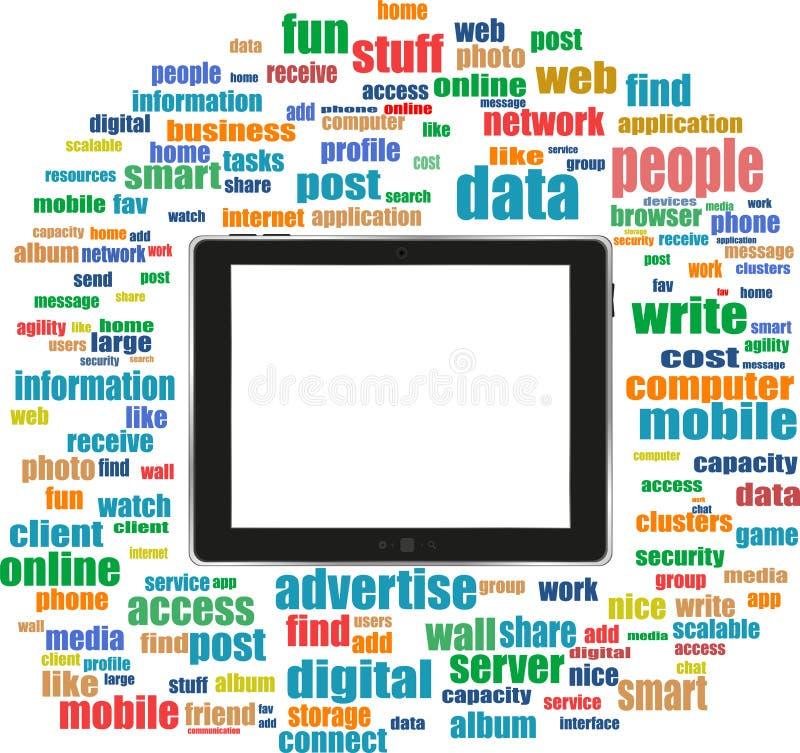 Marque o PC em palavras sociais dos media, redes informáticas ilustração royalty free