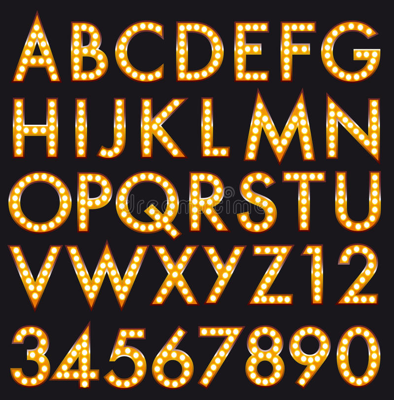 Free Marquee Alphabet Font Letters In Broadway Billboard Sign Style Stock Images - 71829634