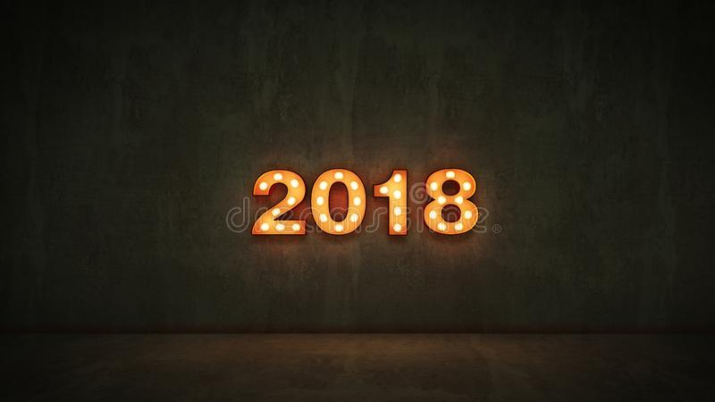Marquee light 2018 letter sign, New Year 2018. 3d rendering.  vector illustration