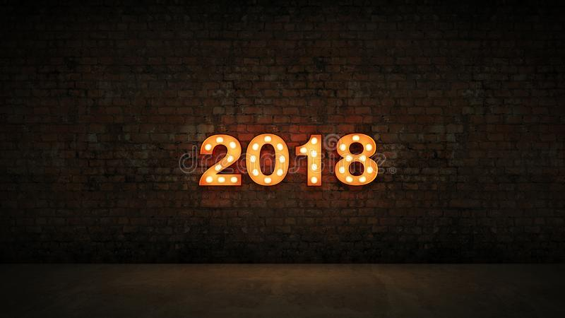 Marquee light 2018 letter sign, New Year 2018. 3d rendering.  stock illustration