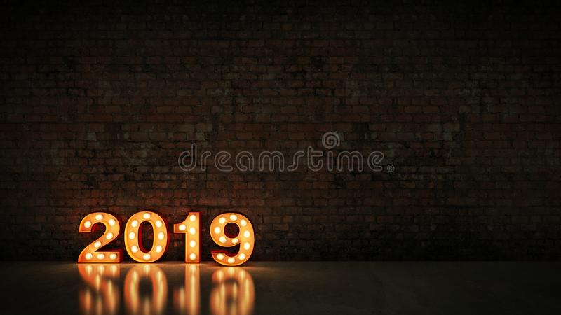 Marquee light 2019 letter sign, New Year 2019. 3d rendering.  vector illustration