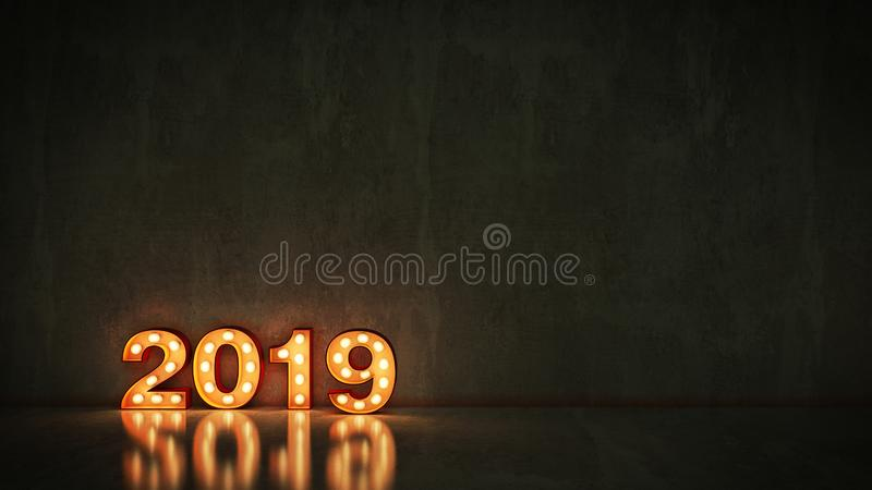 Marquee light 2019 letter sign, New Year 2019. 3d rendering.  stock illustration