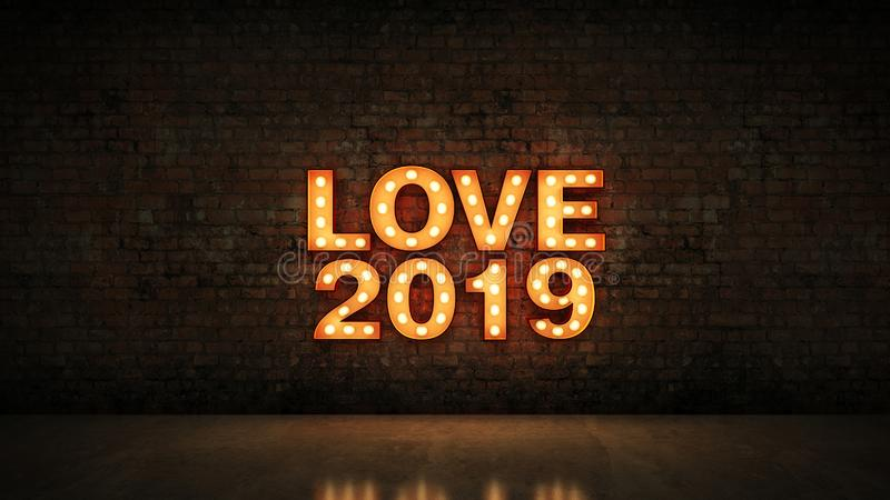 Marquee light love 2019 letter sign, love 2019. 3d rendering.  royalty free illustration