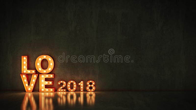 Marquee light love 2018 letter sign, New Year 2018. 3d rendering.  stock illustration