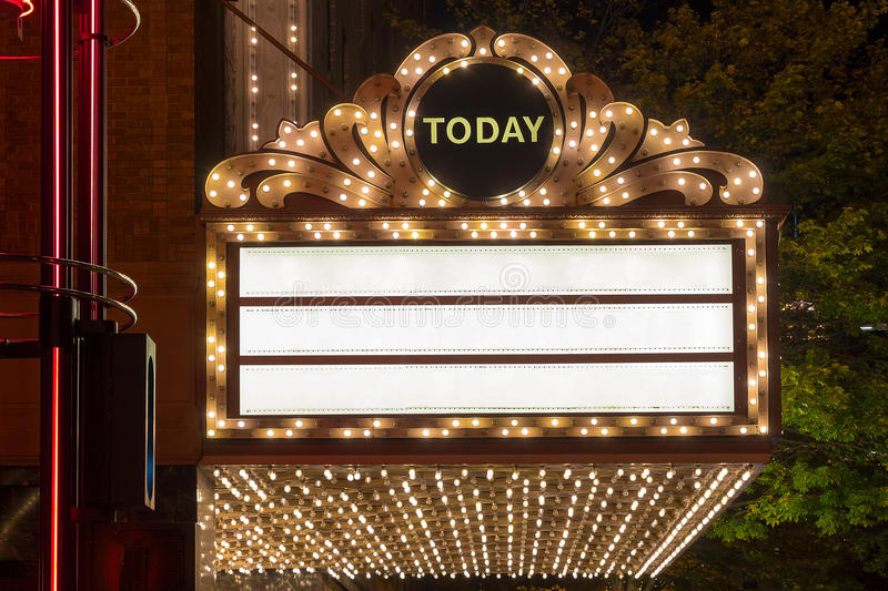 Download Marquee Lights At Broadway Theater Exterior Stock Image - Image of orchestra, vintage: 62528049