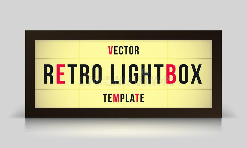 Marquee retro lightbox signage vector template. Vector retro lightbox of cinema marquee signage or theater sign in vector frame template vector illustration