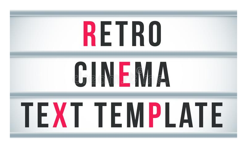 Marquee sign lightbox signage. Vector retro cinema or theater signboard billboard royalty free illustration