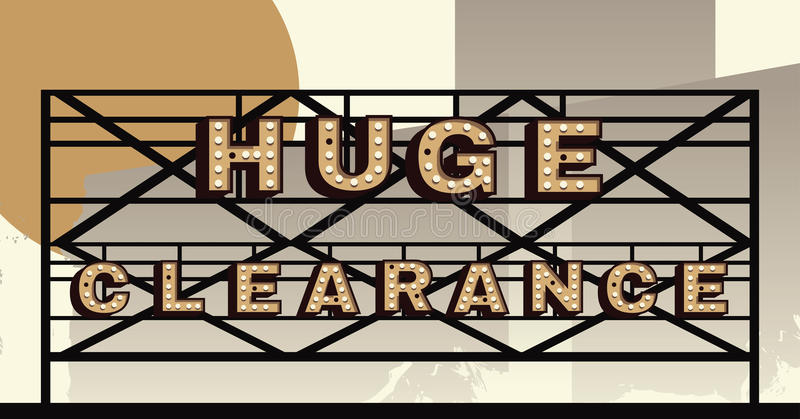 Marquee sign that says huge clearance. Huge Clearance sign in a marquee style vector illustration