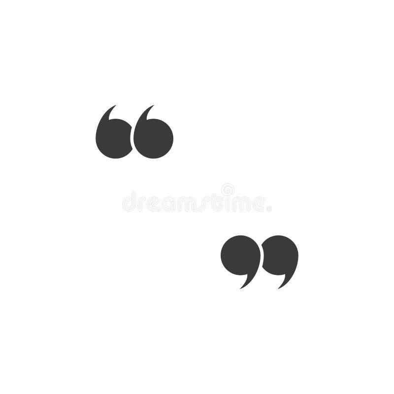 Marques de citation Cite l'ic?ne Symbole de la parole Icône colorée noire de citation Vecteur illustration de vecteur