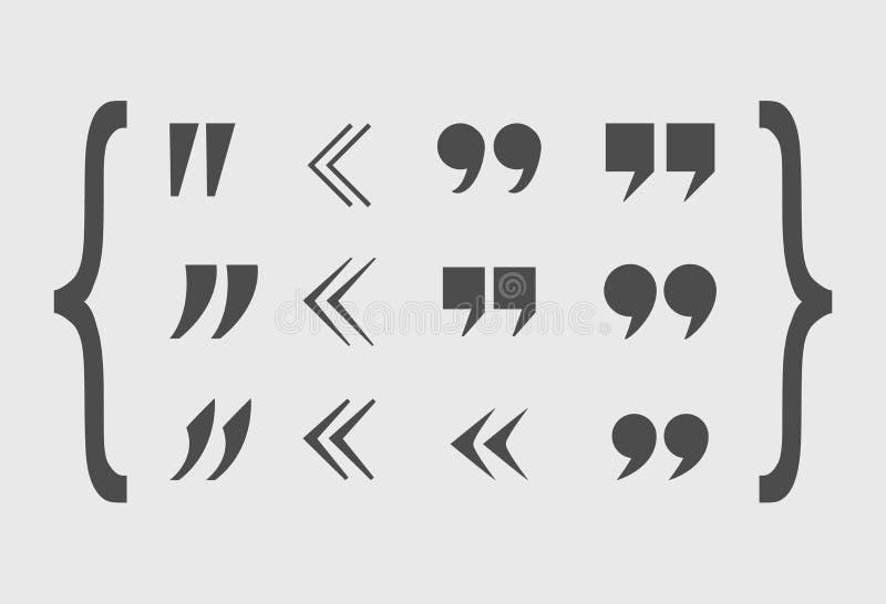 Marques de citation de vecteur réglées, Gray Abstract Icons, différentes formes illustration stock