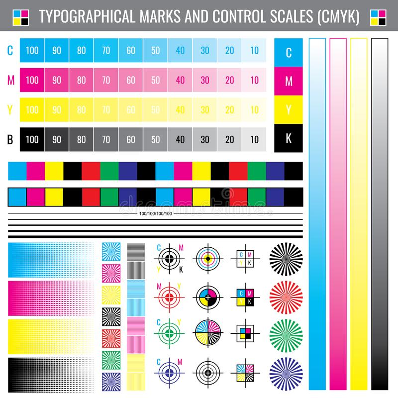 Marques de culture d'impression de calibrage Document de vecteur d'essai de couleur de CMYK illustration de vecteur