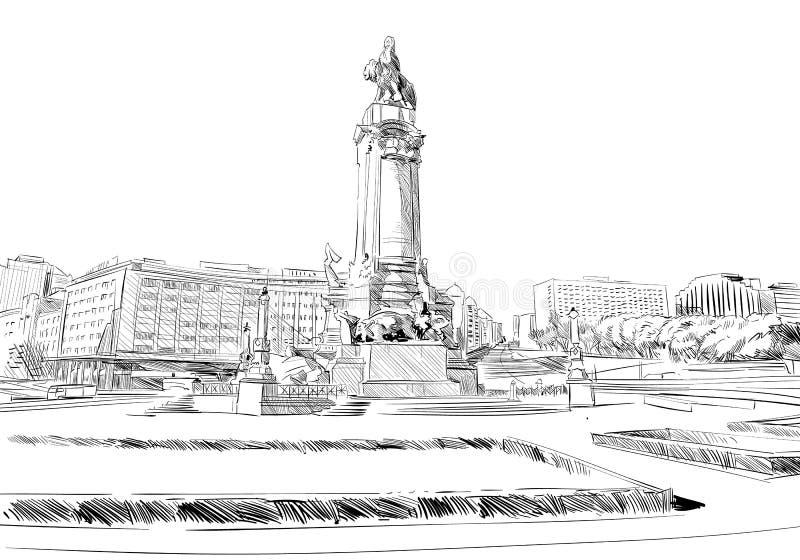 Marques de Pombal πλατεία Λισσαβώνα Πορτογαλία Ευρώπη Συρμένη χέρι διανυσματική απεικόνιση διανυσματική απεικόνιση
