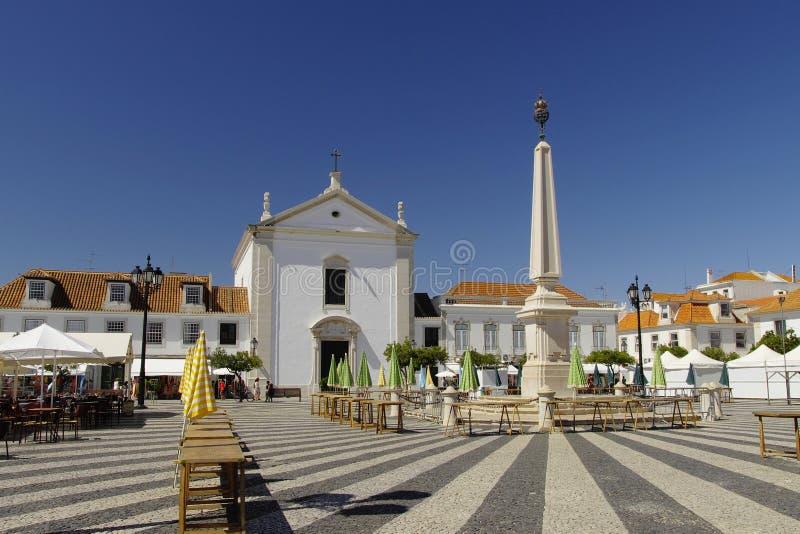 Marques de Pombal square in Vila Real de Santo Antonio royalty free stock image