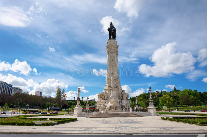 Marques do Pombal statue Lisbon, Portugal royalty free stock photos