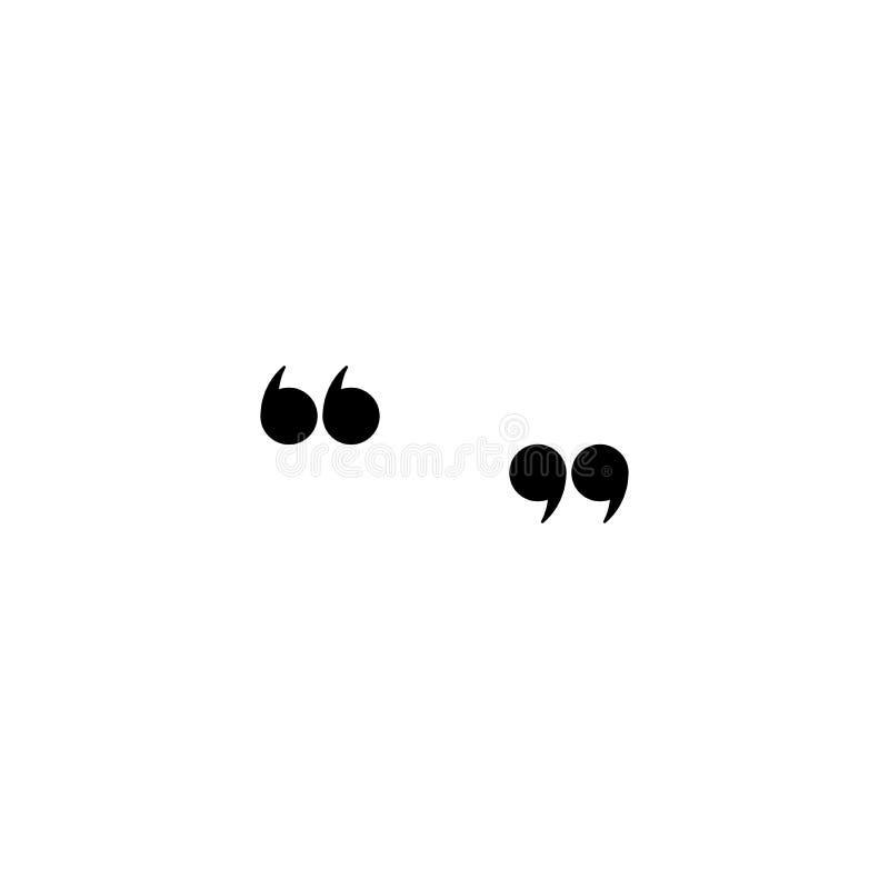 Marques noires de citation d'isolement sur le blanc Icône plate de lecture Illustration de vecteur illustration libre de droits