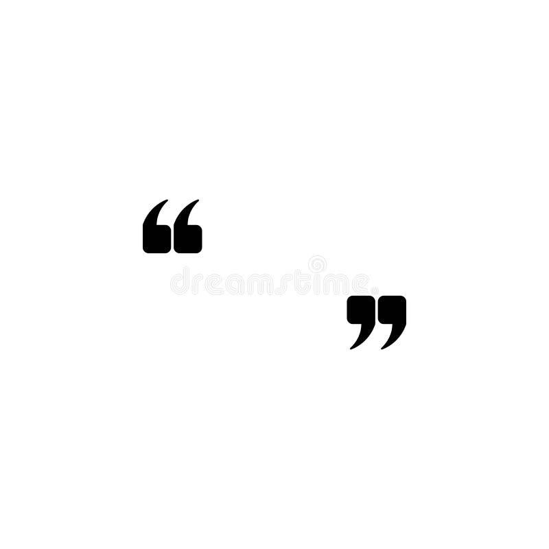 Marques noires de citation d'isolement sur le blanc Icône plate de lecture Illustration de vecteur illustration de vecteur