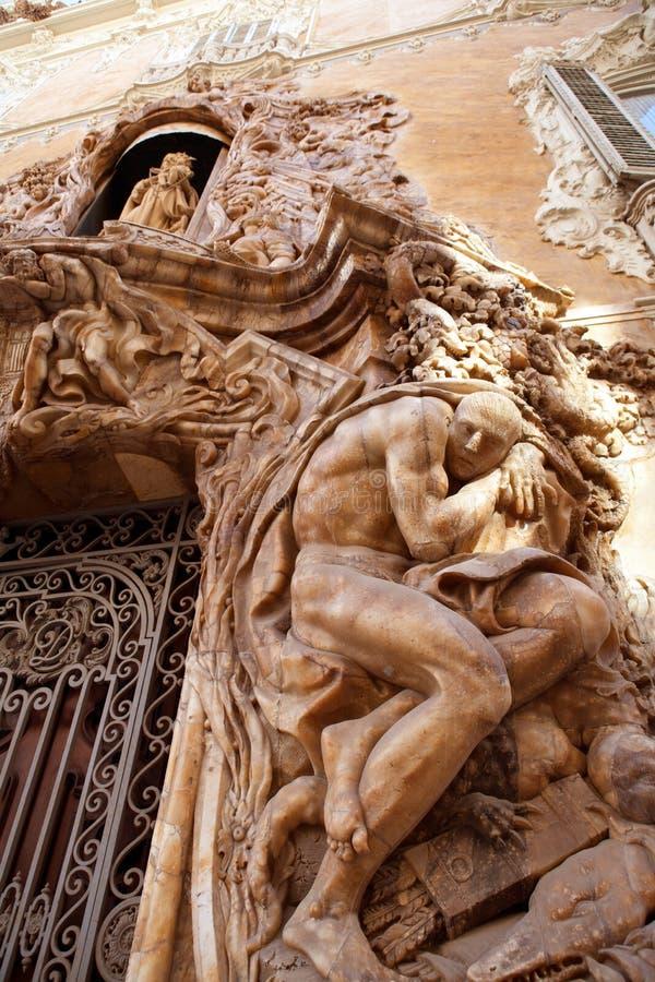 Marquesde DOS Aguas slott med den alabaster- fasaden Valencia royaltyfria foton