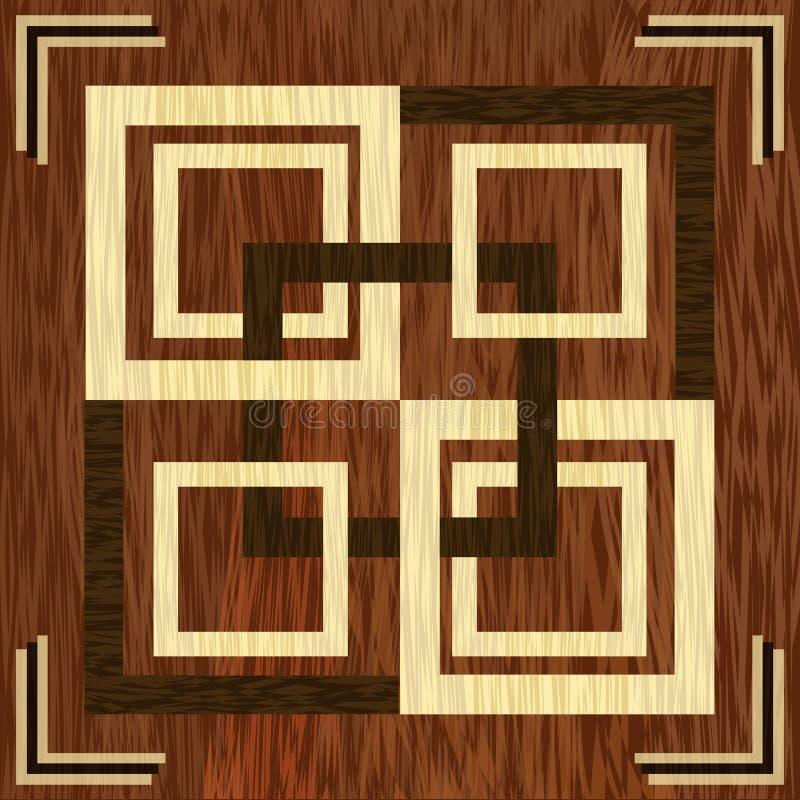 Marqueterie carrée en bois, lumière et modèles en bois foncés Calibre en bois de décoration d'art Ornement géométrique texturisé  illustration libre de droits
