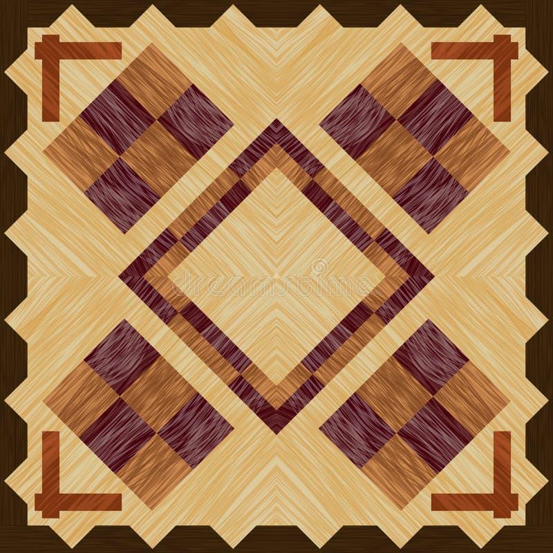 Marqueterie en bois avec des éléments de damier sur la tuile en bois et carrée légère avec la texture en bois illustration libre de droits