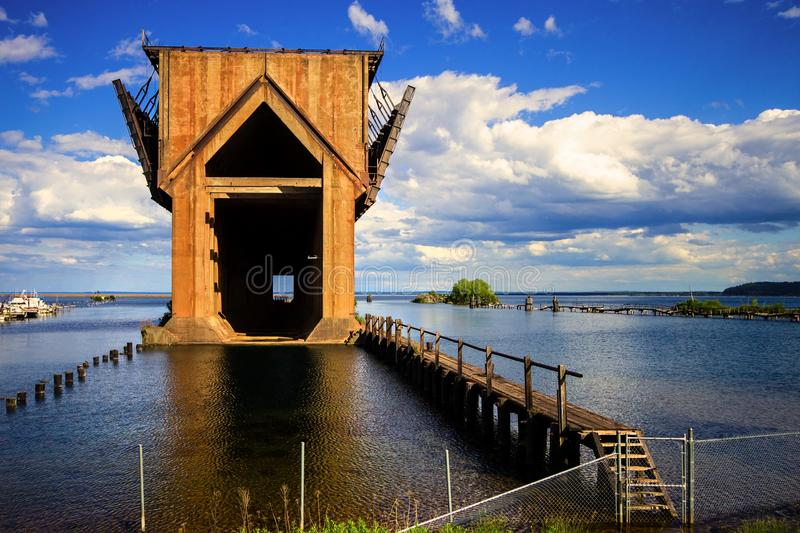 Marquette Iron Ore Docks. Abandoned Iron Ore dock on the shores of Lake Superior in Marquette, Michigan stock photos