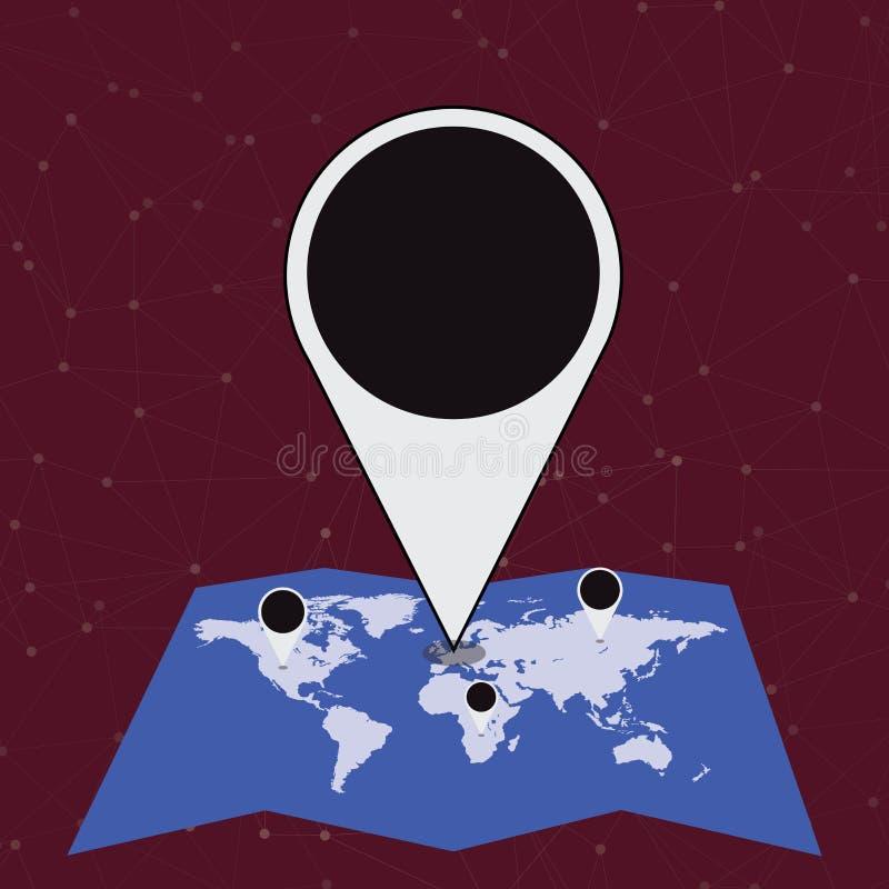 Marqueur énorme coloré Pin Pointing d'emplacement à un secteur ou à une adresse sur la carte Idée créative de fond pour la livrai illustration stock